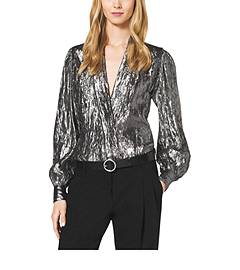 Crushed-Silk Lamé Wrap Blouse