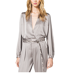 Satin Charmeuse Wrap Blouse
