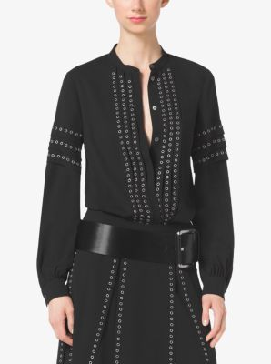 Grommet-Embroidered Georgette Blouse by Michael Kors