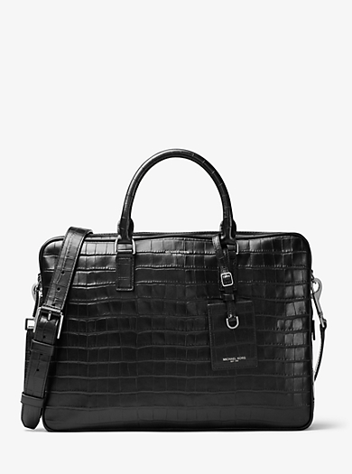 Bryant Large Embossed-Leather Briefcase by Michael Kors