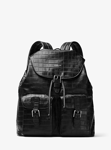 Bryant Embossed-Leather Backpack by Michael Kors