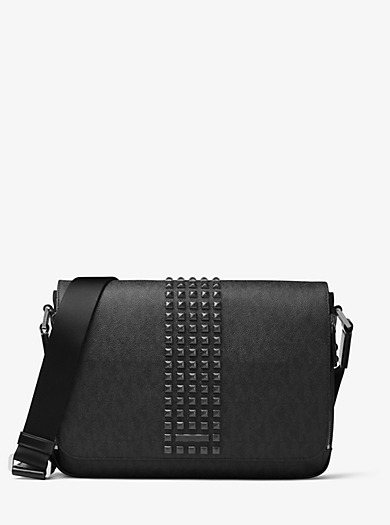 Jet Set Studded Medium Logo Messenger by Michael Kors