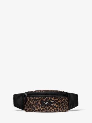 Michael Kors Brooklyn Leopard Woven Hip Bag,HUSK