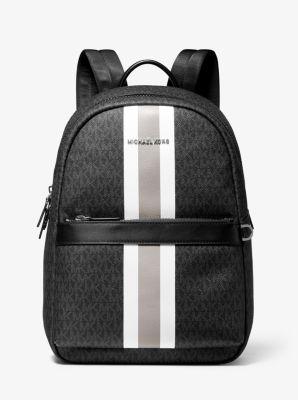 마이클 코어스 스트라이프 백팩 Michael Kors Greyson Logo Stripe Backpack,BLACK/WHITE
