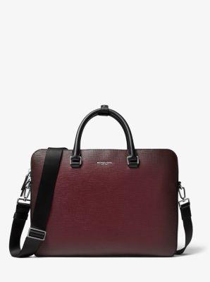 Michael Kors Henry Ombre Crossgrain Leather Briefcase,MERLOT