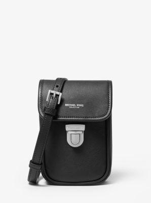 Michael Kors Kennedy Calf Leather Phone Crossbody Bag,BLACK