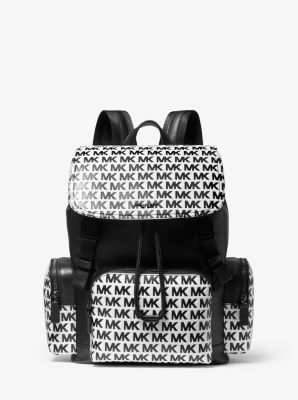 Michael Kors Henry Logo-Embossed Leather Backpack,BLACK/WHITE