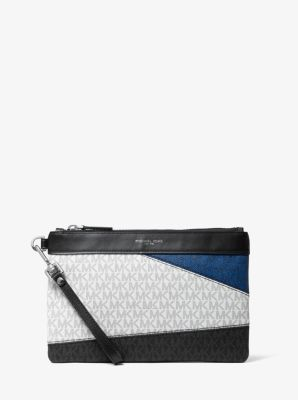 마이클 코어스 맨 컬러블록 로고 파우치 Michael Kors Mens Color-Block Logo Travel Pouch,BLACK/MARINE