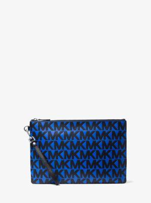 마이클 코어스 맨 로고 파우치 Michael Kors Mens Logo-Embossed Leather Travel Pouch,BLK/ATLA BLU