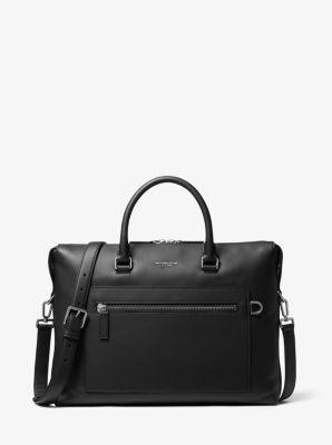 Michael Kors Greyson Leather Pocket Briefcase,BLACK