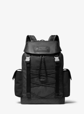 Michael Kors Greyson Logo Mixed-Media Backpack,BLACK