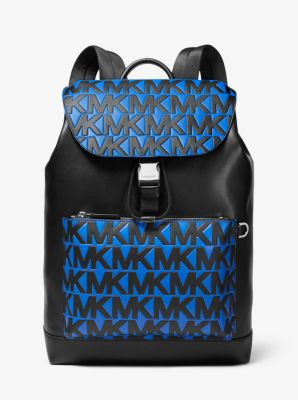 Michael Kors Greyson Logo Leather Field Backpack,BLK/ATLA BLU