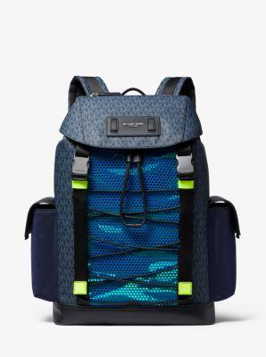 Michael Kors Greyson Logo Mixed-Media Backpack,ADM/NEO GRE