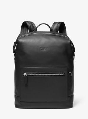 Michael Kors Greyson Leather Backpack,BLACK