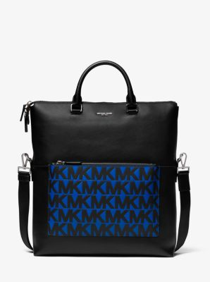 Michael Kors Greyson Logo Leather Tote Bag,BLK/ATLA BLU