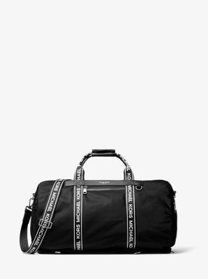 마이클 코어스 켄트 더플백 블랙/화이트 Michael Kors Kent Logo Tape Nylon Convertible Duffel,BLACK/WHITE