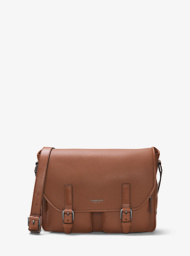 Bryant Leather Cargo-Pocket Messenger Bag by Michael Kors