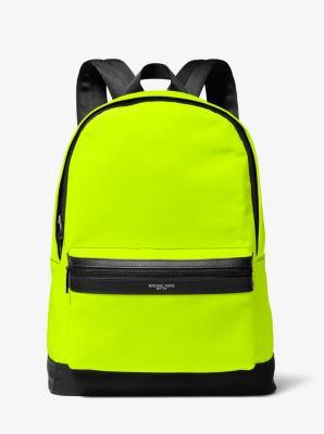 Michael Kors Kent Camouflage Nylon Backpack,BLACK/NEON YELLOW