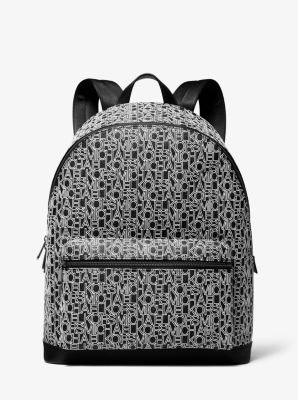 Michael Kors Jet Set Graphic Logo Print Backpack,BLACK/WHITE