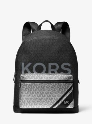 Michael Kors Jet Set Color-Block Logo Backpack,BLACK/SILVER