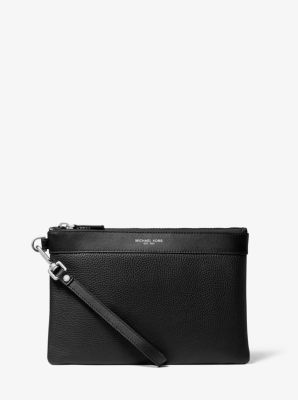마이클 코어스 맨 파우치 Michael Kors Mens Pebbled Leather Travel Pouch,BLACK