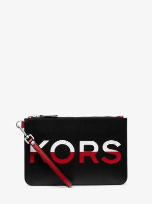 마이클 코어스 파우치 Michael Kors Medium Printed Leather Slim Pouch,BLK/RC RD