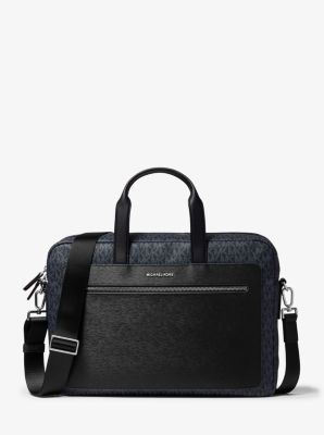마이클 코어스 서류 가방 Michael Kors Hudson Logo and Crossgrain Leather Briefcase