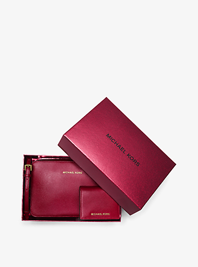 Jet Set Travel Leather Crossbody and Card Holder Set by Michael Kors