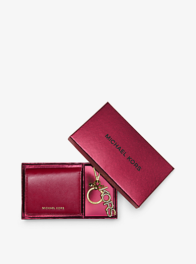 Jet Set Travel Leather Carryall Wallet and Key Chain Set by Michael Kors