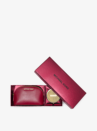 Jet Set Leather Pouch and Compact Set by Michael Kors