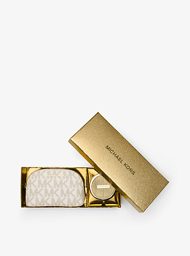 Logo Pouch and Compact Set by Michael Kors