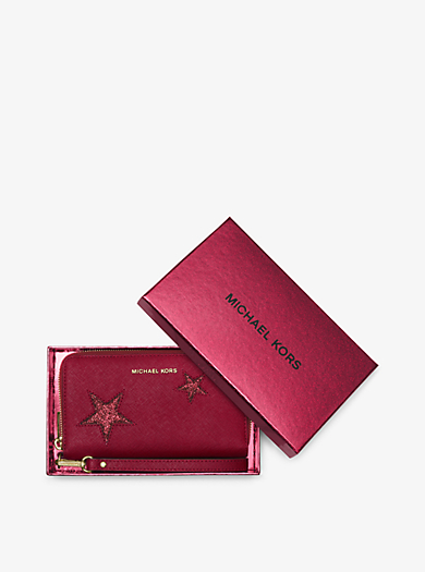 Jet Set Travel Large Star Leather Phone Case by Michael Kors