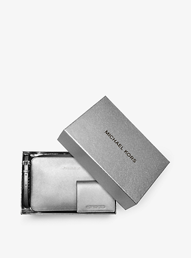 Jet Set Travel Metallic Leather Crossbody and Card Holder Set by Michael Kors