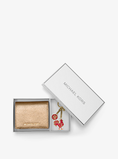 Jet Set Travel Metallic Leather Card Holder and Key Chain Set by Michael Kors