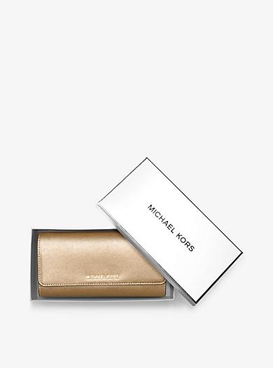 Jet Set Travel Metallic Leather Chain Wallet by Michael Kors