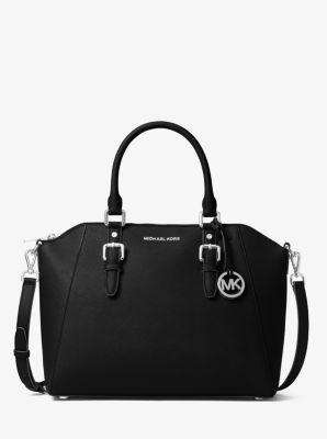 마이클 마이클 코어스 Michael Michael Kors Ciara Large Saffiano Leather Satchel,BLACK