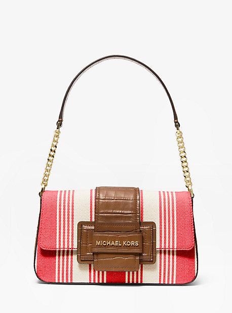 Sage Medium Striped Canvas Shoulder Bag