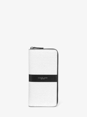 마이클 코어스 장지갑 Michael Kors Cooper Perforated Leather Zip-Around Wallet,WHITE/BLACK