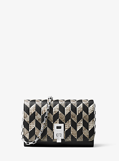 Miranda Appliqué Snakeskin and Leather Chain Wallet by Michael Kors