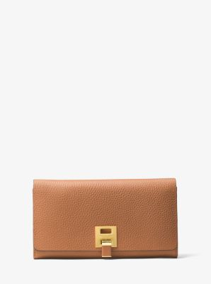Michael Kors Bancroft Pebbled Calf Leather Continental Wallet,LUGGAGE