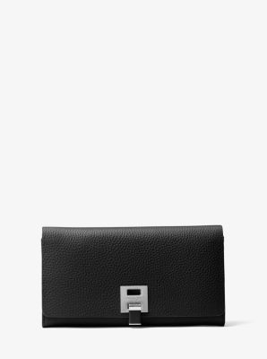 Michael Kors Bancroft Pebbled Calf Leather Continental Wallet,BLACK