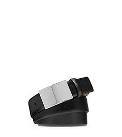 Logo Plaque Saffiano Leather Belt