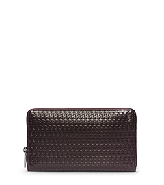Jet Set Men's Embossed Large Zip Wallet