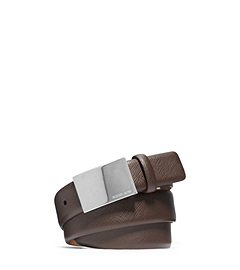 Logo Plaque Saffiano Leather Belt