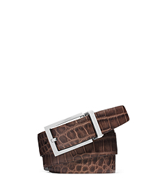 Reversible Crocodile Pattern-Embossed Leather Belt