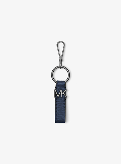 Logo Silver-Tone and Leather Keychain         by Michael Kors