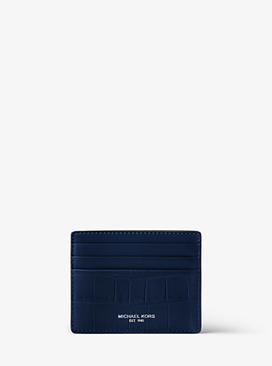 Bryant Embossed-Leather Card Case by Michael Kors