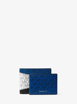 마이클 코어스 맨 그레이슨 로고 여권지갑 Michael Kors Greyson Color-Block Logo Billfold Wallet With Passcase,BLACK/MARINE