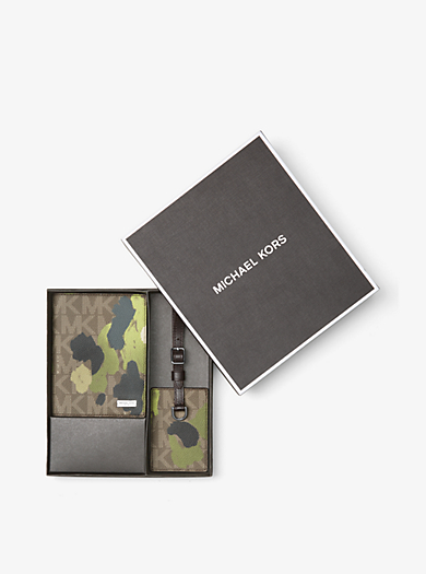 Painterly Camo Passport Case and Luggage Tag Set by Michael Kors