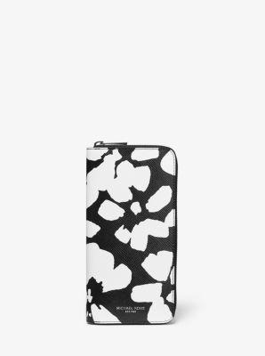 마이클 코어스 맨 헤리슨 장지갑 Michael Kors Harrison Abstract Floral Zip-Around Wallet,BLACK/WHITE